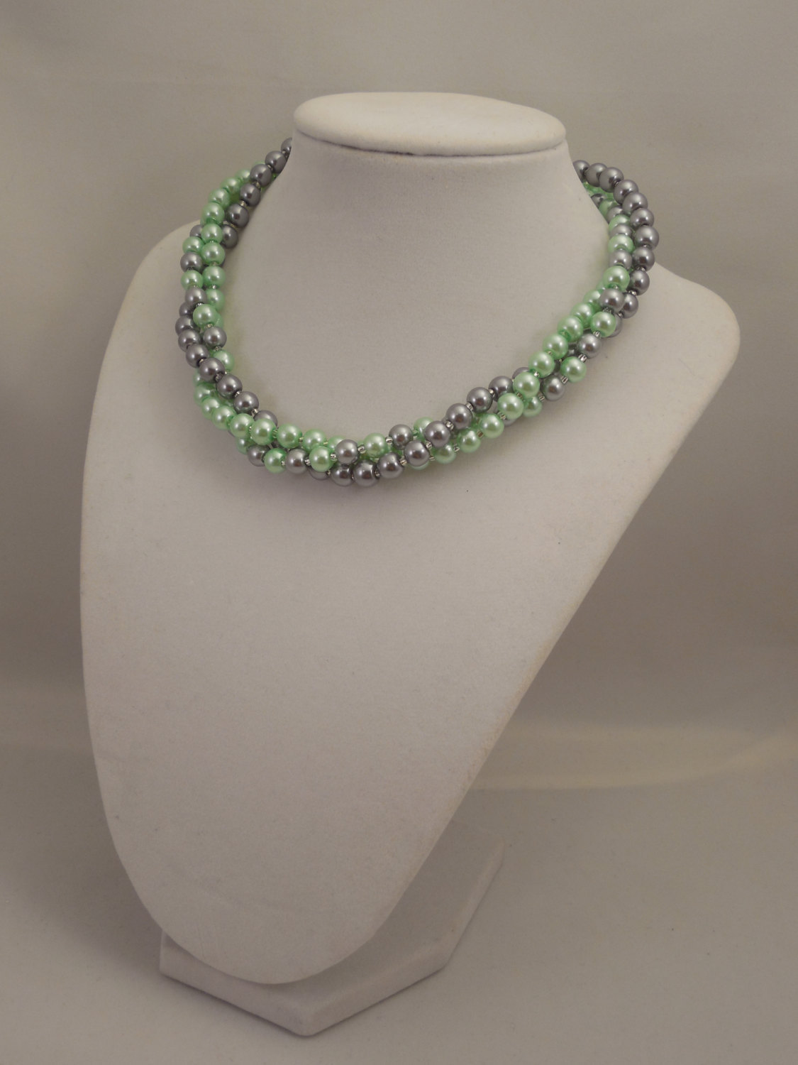 Elegant, Multi Strand Choker Style Necklace with Gray and Mint Green Glass Pearl image 3