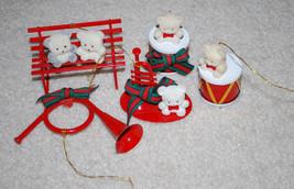 White Fuzzy Teddy Bears Christmas Ornaments LOT Red Metal Musical Instru... - $11.53