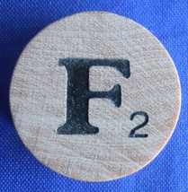 WordSearch Letter F Tile Replacement Wooden Round Game Piece Part 1988 Pressman - $1.45