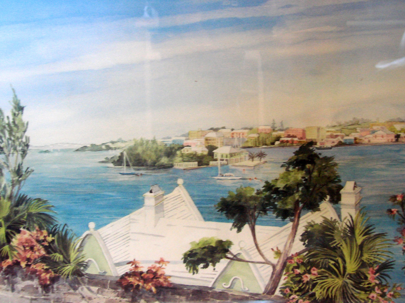 Hamilton from Harbour Road Bermuda  Pastel Painting- by C.Holding Signed, Frame image 2