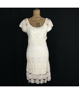 NWT GIANNI BINI Med Dress Ivory Cream Crochet Lace Slip Lined Boho Jenny... - $49.95