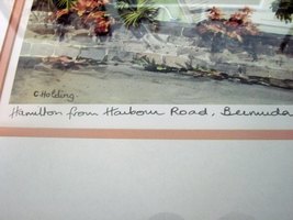 Hamilton from Harbour Road Bermuda  Pastel Painting- by C.Holding Signed, Frame image 3