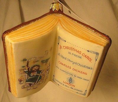 Vaillancourt Folk Art    Dickens Book  A Christmas Carol Ornament