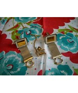 SALE! Vintage Goldtone Cuff Links and Tie Pin Set Meshed Belt Caramel Stone - $11.99