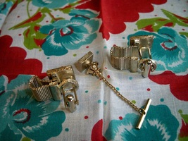 Vintage cuff links tie pin goldtone belt2 thumb200