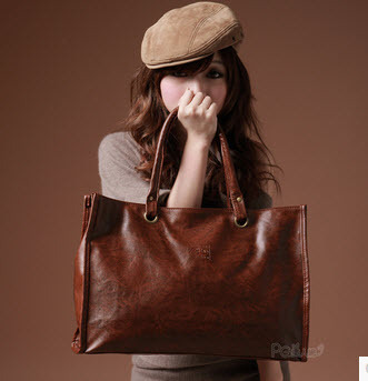 2013 Retro Tote bag ,pu leather, W(41-44)x29x12, brown