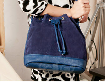 3459 Shouldering bag with deer skin & pu leather, W(30-25)x26x13, blue