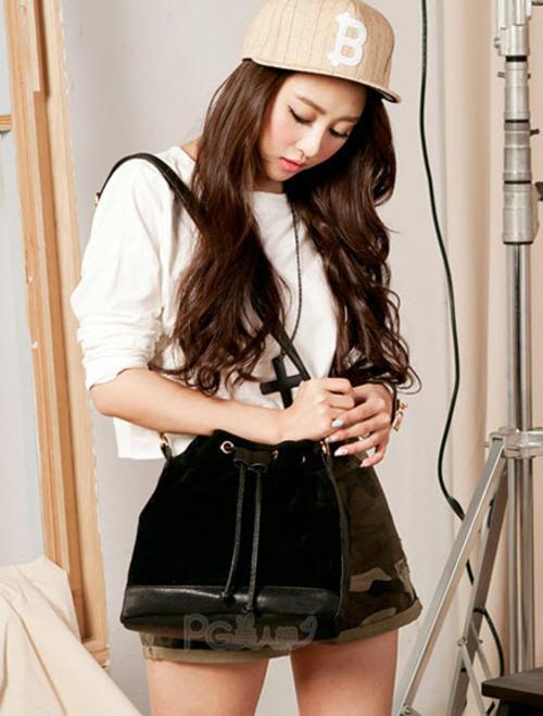 3459 Shouldering bag with deer skin & pu leather, W(30-25)x26x13, black