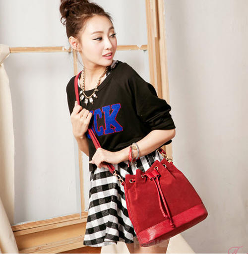 3459 Shouldering bag with deer skin & pu leather, W(30-25)x26x13, red