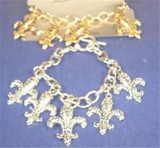 """Fleur De Lis Gold Silver Chain Link Religous Christian Jesus Bracelet 8"""" 8 Inch - $8.95"""