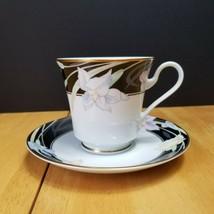 Mikasa Charisma Black Cup & Saucer Set (1) Black with Flowers on Rim L9050 - $5.89