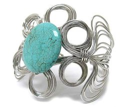 Chunky Wire Wrap Bracelet Round Faux Turquoise Stone Cuff Silver Blue Statement - $16.99