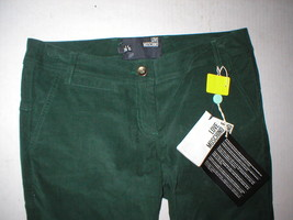 New NWT Womens 4 Dark Designer Love Moschino Green Velvet Pants Corduroy Skinny image 2