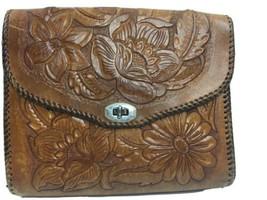 """Vintage 60s 70s Tooled Leather Purse Handbag Floral 11x9x1.5"""" Shoulder - $46.33"""