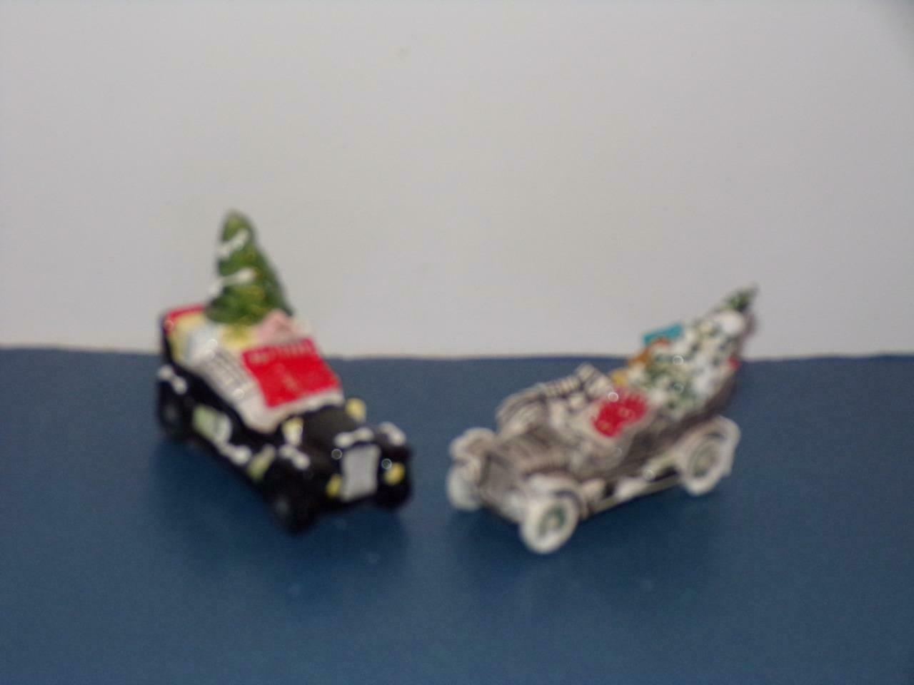 Primary image for SUPER SALE -2 beautiful little Christmas Cars-goes well with dept 56 or LEMAX