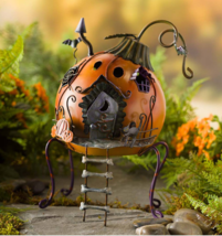 Miniature Halloween Pumpkin Cottage Metal Fairy Garden Indoor Outdoor Ho... - $59.14