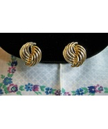 SALE! Vintage 1960s Goldtone Swirl Clip On Earrings - $8.99