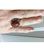 lucky horseshoe ring with 13x18 red jasper cabochon - $14.85