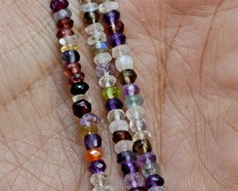 Z-0335 Mix Quartz Gemstone Natural Rondelle Faceted Loose Beads 4mm 13.5... - $12.86
