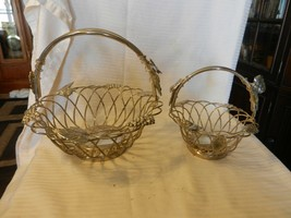 Pair of Silver Plated Wire Fruit Bread Baskets With Handles Grapes Leave... - $111.38