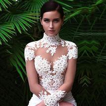 New Sexy Long Sleeve Lace Illusion High Neck Mermaid Wedding Dress image 4