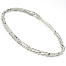 18K WHITE GOLD BRACELET WORKED PLATE ALTERNATE SQUARE DOUBLE LINK, ITALY MADE image 1