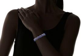 "New Cohesive Jewels Fancy Gold Tone Blue Crystal CZ 6.5"" Stretch Bracelet NWT image 2"