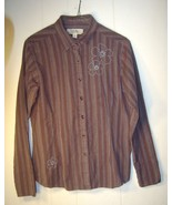 """""""Cabela's"""" brown cotton blouse with blue and yellow stripes...Size Medium - $13.99"""