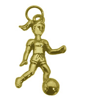 NICE 24K Gold Plated girls women Ladies Soccer team Ball Player Charm Je... - $15.01