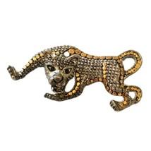 Vintage Leopard Brooch Pin Lapel Gold Silver Tone Rhinestone Eyes Estate... - $12.99