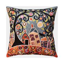 "House Barn Birds & Tree Karla Gerard Pillow Cover Handmade Art Silk 18""x18"" - $65.00"
