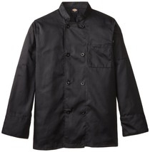 Dickies Chef Coat Jacket DCP118 BLK Plastic Button Black Uniform Large New - $39.17