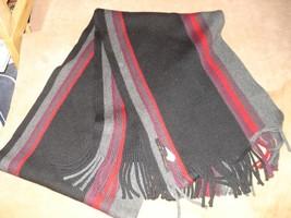 BANANA REPUBLIC 100% Wool Scarf, Striped Black Gray Red Purple - £8.63 GBP