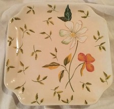 Ceramic Snack Plate Harry and David Square 8X8 Floral Design Decorative ... - $9.89