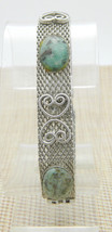 Teal Green Brown Agate Stone Heart Silver Tone Bracelet Vintage - $29.69