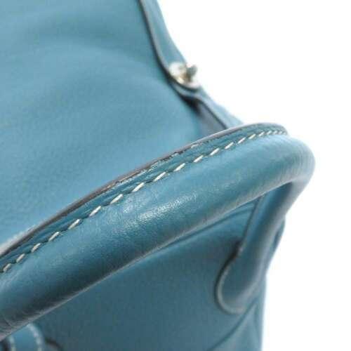 HERMES Lindy 34 Taurillon Clemence Blue Jean Handbag Shoulder Bag #Q Authentic image 10