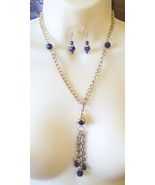 purple glass bead necklace gold chain glass bead earrings gold jewelry set - $7.99