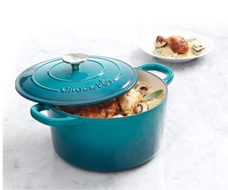 New! Crock-Pot 5Qt Round Dutch Oven Teal Ombre Enamel Brushed Cookware - $45.99