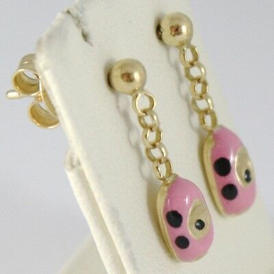 Earrings Baby Girl Yellow Gold 750 18k Hanging, Automobile Pink, Long 18 Mm