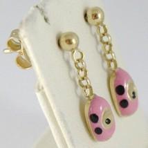 Earrings Baby Girl Yellow Gold 750 18k Hanging, Automobile Pink, Long 18 Mm image 1