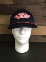 Vans Off The Wall Blue And Red Snapback Trucker Hat Old School Patch - $14.30