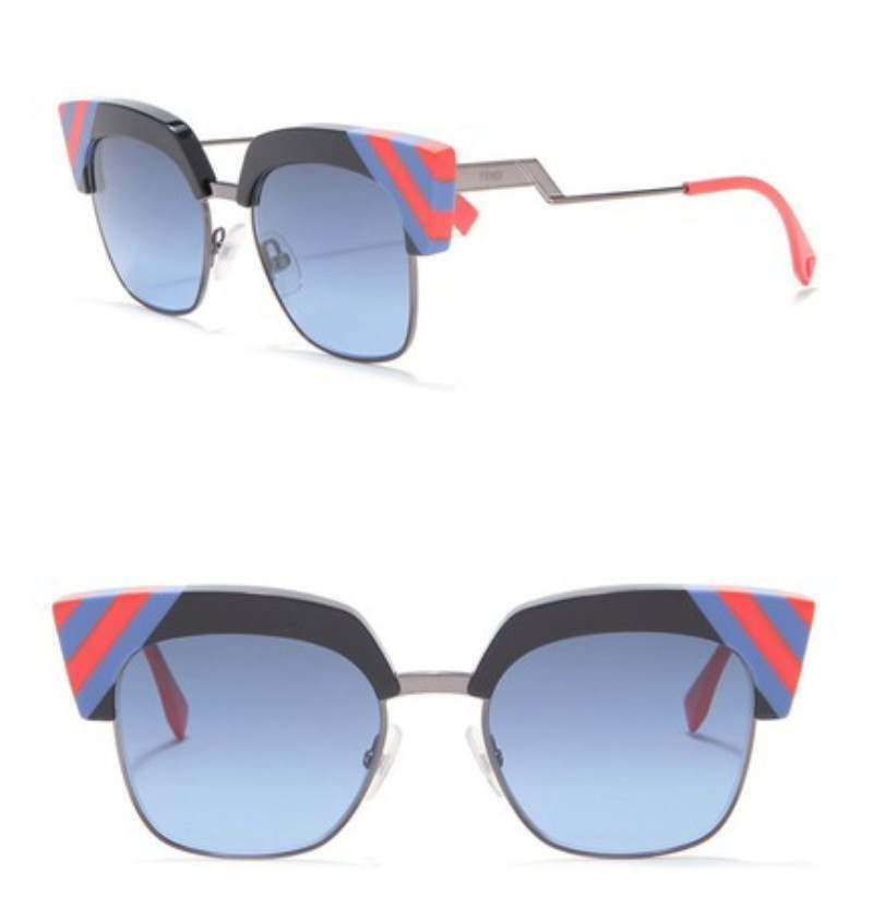 Primary image for $505 Fendi Art Deco Sunglasses 50mm Blue Coral Stripes Gunmetal Hologram Authent