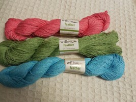 Lot of 3 Willow Feather Yarn Flamingo Parakeet Chickadee 3.5 oz skeins T... - $23.38