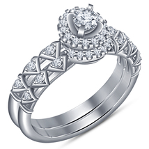 White Gold Plated 925 Sterling Silver Round Cut Diamond Bridal Wedding Ring Set - $84.99