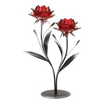 Beautiful Double Red Flowers on Leafy Stem Tealight Candle Holder - $28.66