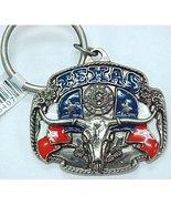 Badge Shaped Texas Bull with Texas Flag & Texas Lone Star Metal Key Ring... - $3.99