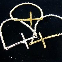 Silver Gold Stretch Sideways Cross Bracelet Christian Religous Jewelry - $9.99
