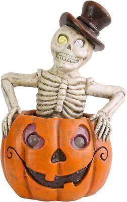 Lighted Pumpkin Skeleton Halloween Decor Spooky Centerpiece Color Changing LED