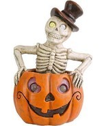 Lighted Pumpkin Skeleton Halloween Decor Spooky Centerpiece Color Changi... - $62.73