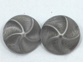 Vintage Faux Pewter Button Disk Clip on Earrings 24245 Gray Grey - $7.99
